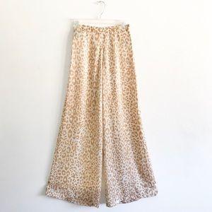Holt Miami Leopard Print Satin Wide Leg Pants